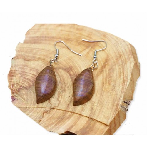 BEAUTIFUL EARRINGS HANDMADE EXOTIC LIGNUM VITAE WOOD LEAF MODEL
