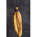 BEAUTIFUL CARVED FEATHER  NECKLACE HANDMADE PALO SANTO WOOD