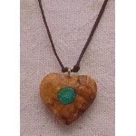 BEAUTIFUL PERUVIAN HEART NECKLACE HANDMADE PALO SANTO WOOD WITH TURQUOISE STONE