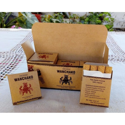 WANCHAKO - ECOLOGIC  INCENSE  HANDMADE PALO SANTO WOOD ,PACK X 12 BOXES